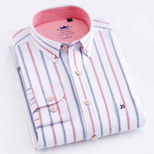 Men's 100% Cotton Multi Striped Oxford Dress Shirt with Left Chest Pocket Smart Casual Regular Fit Button-down Office Work Shirt