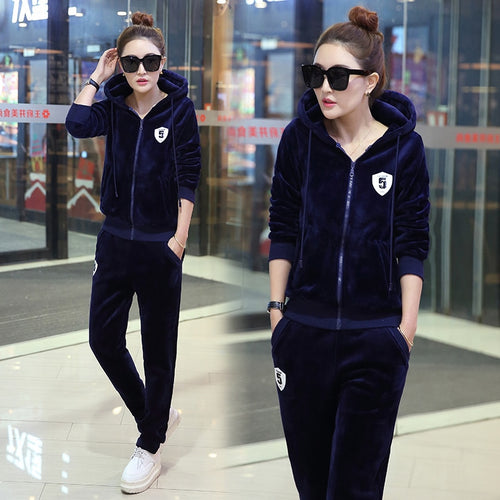Velvet tracksuit for women autumn and winter women's fashion large size leisure suit female plus size jacket+pants 2 piece sets