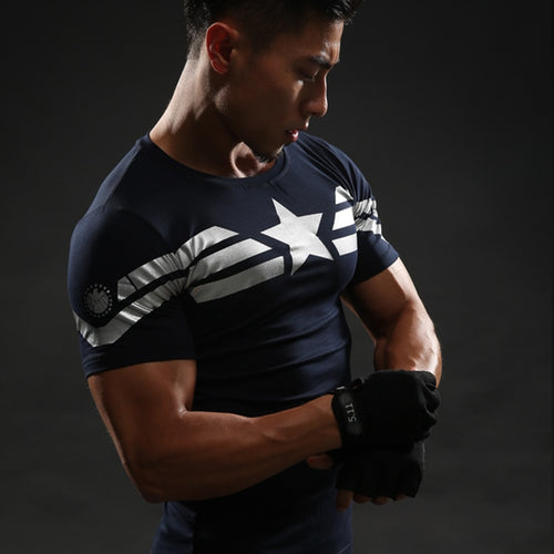 Captain America 3D T Shirt Men T-Shirt Male Crossfit Tops Print Anime Superhero Superman tshirt Men Fitness Compression Shirts