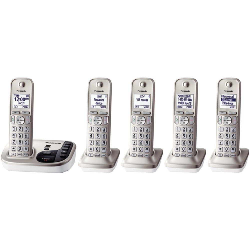 Panasonic KX-TGD225N DECT 6.0 Plus Expandable Digital Cordless Answering System (5-Handset System) (