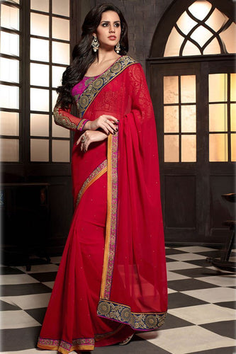 Red Designer Party Wear Georgette Saree