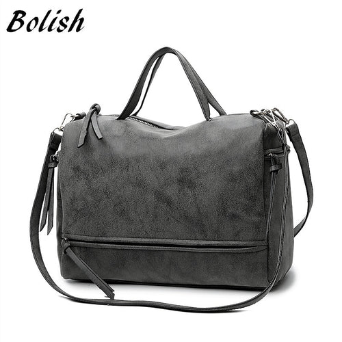 Bolish Brand Fashion Female Shoulder Bag Nubuck Leather women handbag Vintage Messenger Bag Motorcycle Crossbody Bags Women Bag