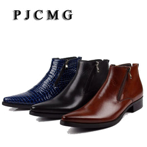 PJCMG New cowhide boots Genuine Soft Leather Boots Pointed Toe Breathable Bullock Patterns Oxford Dress Shoes For Men Boots