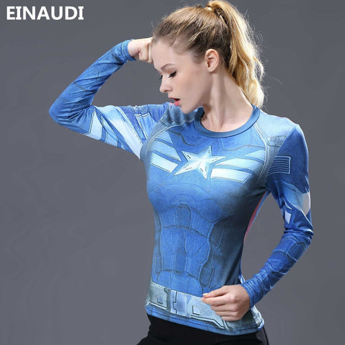 Women T-shirt Bodys Marvel costume superman/batman T Shirt Long Sleeve Girl Fitness Tights Compression tshirts plus size
