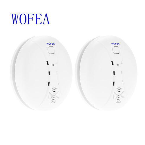 WOFEA 2 Pieces Wireless Smoke Detector smoke Sensor for fire home security alarm system free shipping