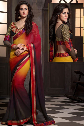 Red And Coffee Color Party Wear Desginer Faux Georgette Saree