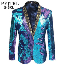 PYJTRL S-5XL Tide Men Double-Color Sequins Suit Jacket Punk Nightclub Bar DJ Fashion Flip Paillette Blazer Stage Singer Costumes