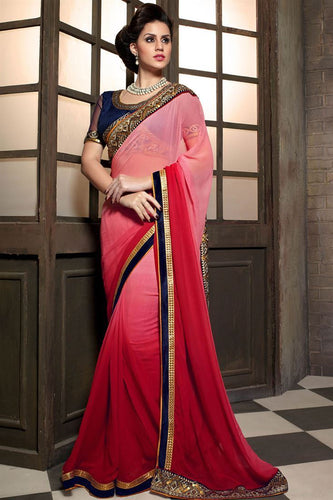 Pink and Blue Color Party Wear Designer Blouse Georgette Saree