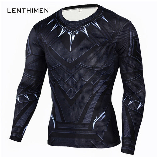 Black Panther T Shirt Men Fitness Compression Shirt Men Superman Captain America Long Sleeve 3D Marvel T shirt MMA Anime T-shirt
