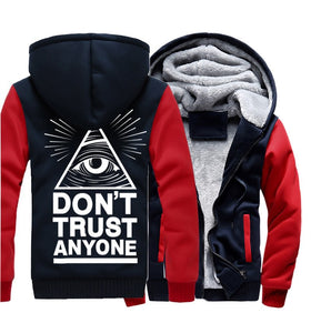 don't trust anyone brand thick hoodies Illuminati All Seeing Eye fleece casual hip hop warm jacket coats clothing