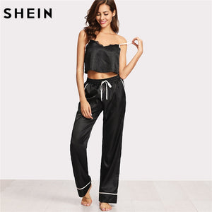 SHEIN Women Pajamas Sleepwear Two Piece Set Black Spaghetti Strap Eyelash Lace Applique Cami Top and Pants Pajamas Set