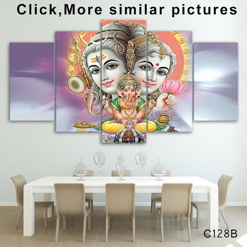 HD Printed 5 Piece Canvas Art hindu god canvas Lord shiva parvati ganesh painting Free Shipping