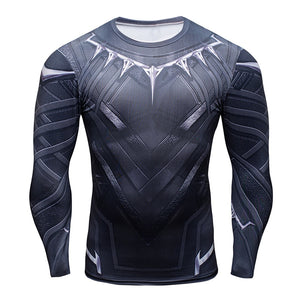 Hot Sale 3D Black Panther t-shirt Compression Long Sleeve t shirt men Fashion Bodybuilding Crossfit tshirt Fitness Clothing Tops