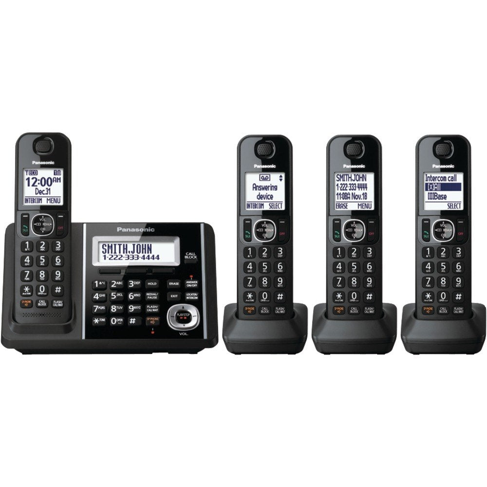 Panasonic KX-TGF344B DECT 6.0 1.9 GHz Expandable Digital Cordless Phone (4 Handsets) (