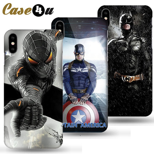 Marvel Captain America Shield Superhero Case Cover for iPhone X 7 8 Plus 6 6s iPhoneX iron Man Spiderman Case Comic accessories