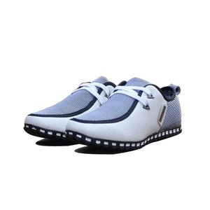 2018 Summer Autumn Striped Men Casual Shoes Size 39-47 Lightweight Men's Doug Shoes PU Leather Lace Up Male Flats 176