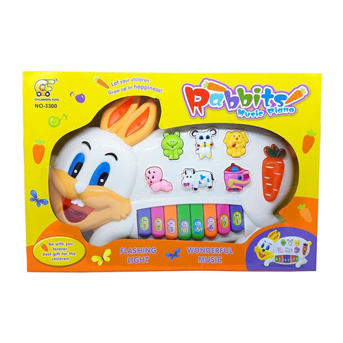 Rabbits Musical Piano for Kids With 3 Modes Animal Sounds, Flashing Lights & Wonderful Music