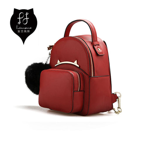 FULANPERS Cat Backpack Female Small Double Zip Red Bag Anti Theft Backpack Quilted Leather Stylish School Bag for Teenager Girls