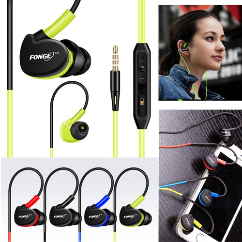 Fonge Waterproof Earphones In Ear Earbuds HIFI Sport Headphones Bass Headset with Mic for xiaomi Galaxy s6 smart phones