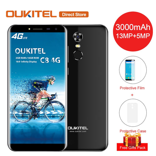 OUKITEL C8 4G Smartphone 18:9 5.5 Inch HD Display Android 7.0 MT6737 Quad-Core 2GB RAM 16GB ROM 13MP+5MP 3000mAh Mobile Phone