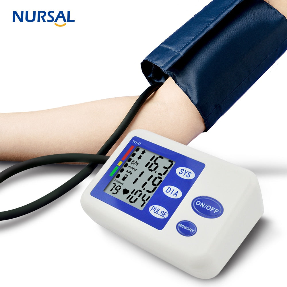NURSAL Portable Arm Blood Pressure Monitor Medical Sphygmomanometer Monitors Health Care Heart Rate Detection Memory Function