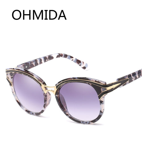 OHMIDA New Fashion Sunglasses Women Cat Eye UV400 Brand Plastic Women's Sun Glasses Blue Mirror Vintage Retro Sunglassses Female
