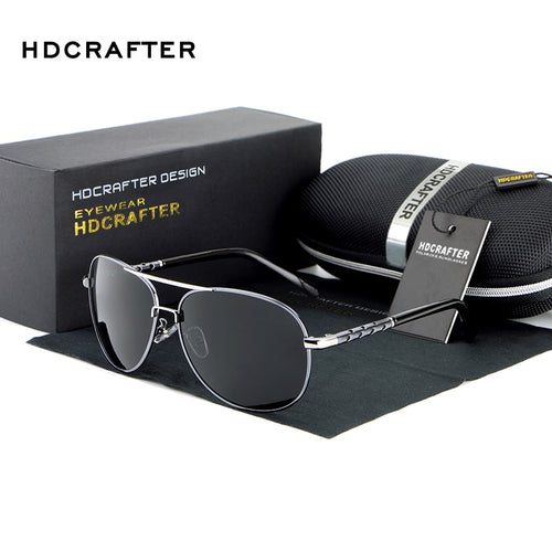 HDCRAFTER Men Polarized Aviator Sunglasses New brand designer Aluminum Magnesium Driving Male Fashion Sunglasses 2018