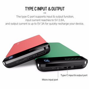 ROCK Power Bank 10000mAh for Xiaomi Portable External Battery Type C Fast Charger Powerbank with Digital Display