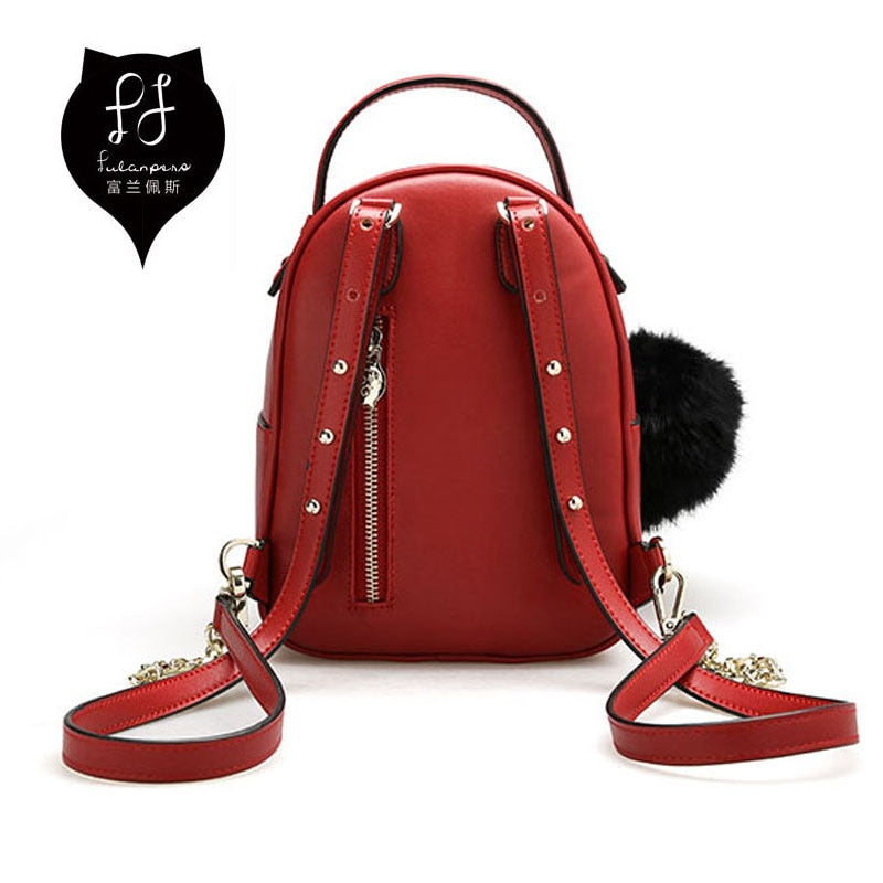75a1b45038 ... FULANPERS Cat Backpack Female Small Double Zip Red Bag Anti Theft  Backpack Quilted Leather Stylish School ...