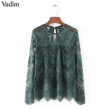 Women vintage transparent wine lace shirts long sleeve o neck blouse European style ladies fashion brand tops blusas LT1503