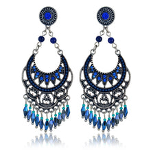 Silver Indian Jewelry Earrings Blue Acrylic Earrings For Women, Retro Silver Color Tassel Earrings , brincos