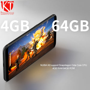 2018 ZTE Nubia N3 Mobile Phone 6.01 inch 2160x1080 FHD Octa Core 4G RAM 64G ROM 5000mAh Dual Rear Camera Android 7.1 Cell Phone