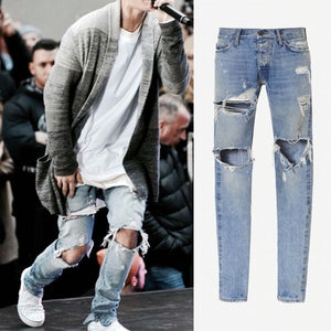 a19a39ab KANYE WEST Fear of god Boots Jeans Mens justin bieber ripped jeans for men  Bottom zipper Skinny jeans Men Valentine AMY569