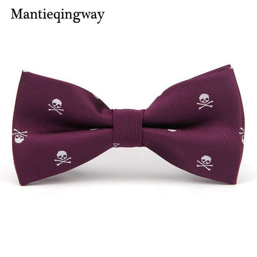 Mantieqingway Novelty Men's Polyester Silk Bow Tie Skull Bowtie for Tuxedo Banquet New Design Bowknot Ties for Wedding Groom