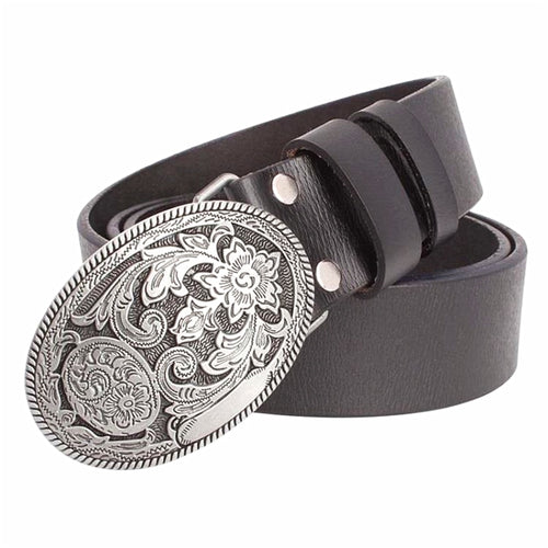Cowskin leather belt Arabesque pattern women genuine leather belt retro palace pattern jeans belt for men