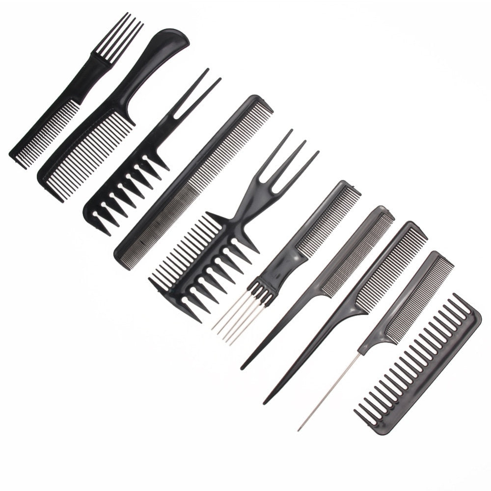 10pcs/Set Professional Hair Brush Comb Salon Barber Anti-static Hair Combs Hairbrush Hairdressing Combs Hair Care Styling Tools
