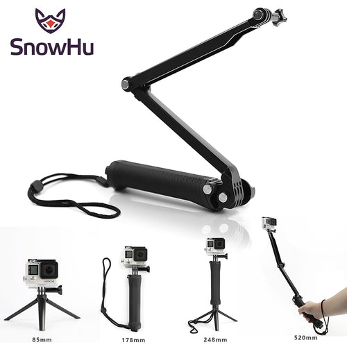 SnowHu For Gopro 6 5 4 3+ Accessories Tripod 3 Way Monopod Tripod Mount Extension Arm elastic Long selfie stick Small and light