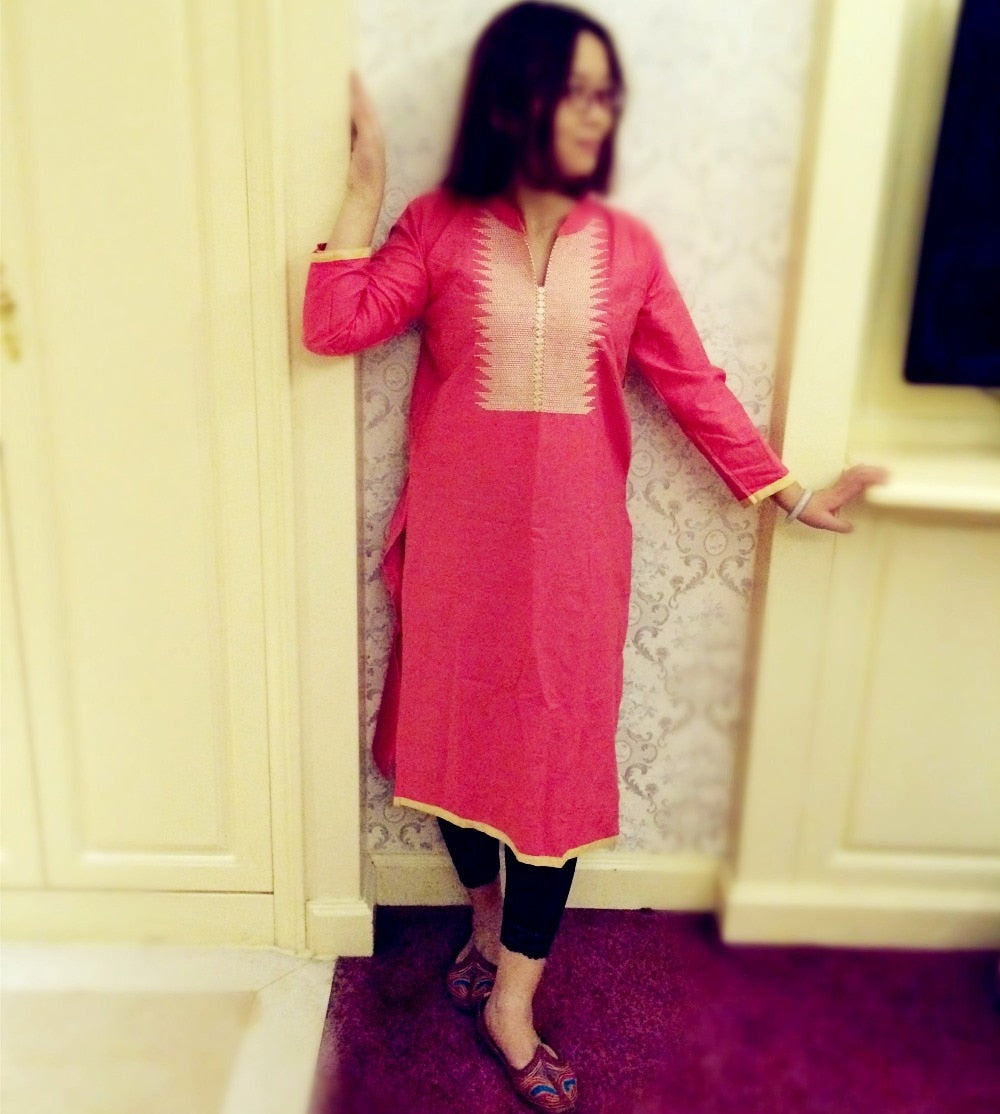 Free Shipping India Women Traditional Clothing  Indian Tunic Top Long Kurti Linen Blouse Long Sleeve Peach Color