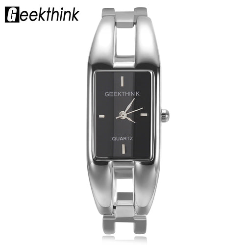 GEEKTHINK Unique Design Luxury Brand Quartz Watch Women rectangle Stainless steel band female clock Bracelet Lady Casual watch