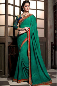 Green-Blue Color Designer Party Wear Georgette Saree
