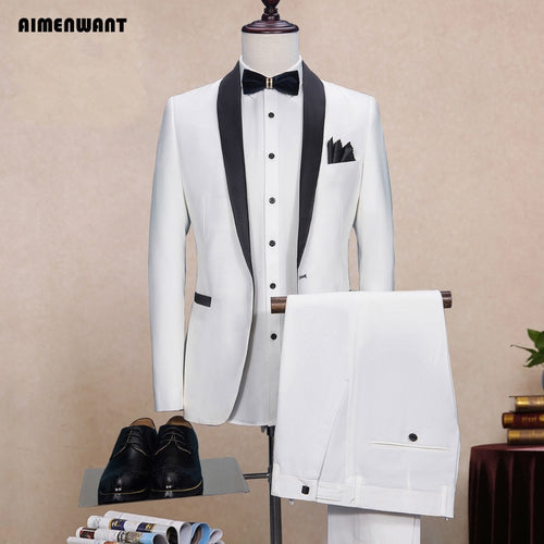 AIMENWANT White Wedding Suit+Pants Set Groomsman Slim Fit Blazer Male Custom Made Tuxedo Suits Prom Suit with Pants 2pcs Outlet