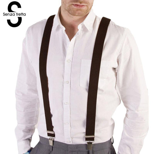 Senza Fretta Men's Suspenders Jeans Fashion Clip-on Braces Elastic Y-Back Suspenders Suspend Slim Men Women Unisex D01254