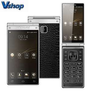Original VKWORLD T2 PLUS 4G Mobile Phone Android 7.0 3GB+32GB Quad Core Flip Smartphone Dual Screen Dual SIM 4.2 inch Cell Phone