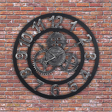 Modern / Contemporary / Traditional Wooden Round Indoor / Outdoor / Indoor / Outdoor,Battery Wall Clock
