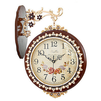 European Plastic & Metal Round Indoor,AA Batteries Powered Wall Clock