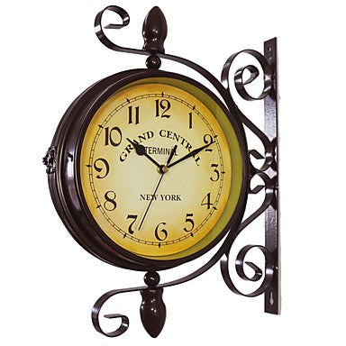 Vintage Double Sided Wall Clock Iron Metal Silent Quiet Grand Central Station Wall Clock Art Clock Decorative Double Faced Wall Clock 360 Degree Rotate Antique Wall Clock (Dark Brown Color)