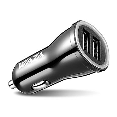 WAZA Car Charger 24W/4.8A 2 USB Smart Port Charger for iPhone X / 8/7 / 6s / Plus, iPad Pro/Air / Mini, Galaxy Note/S Series, LG, Nexus, HTC and More