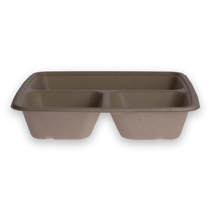 Bol en bagasse BePulp carré 3 compartiments 23x23x4 cm 1300 ml naturel