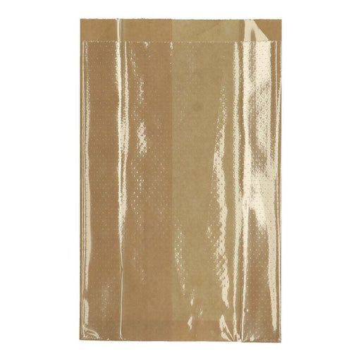 Sacoche de fenêtre polykraft + PE perforé 14+ (2x3) x24 cm marron transparent