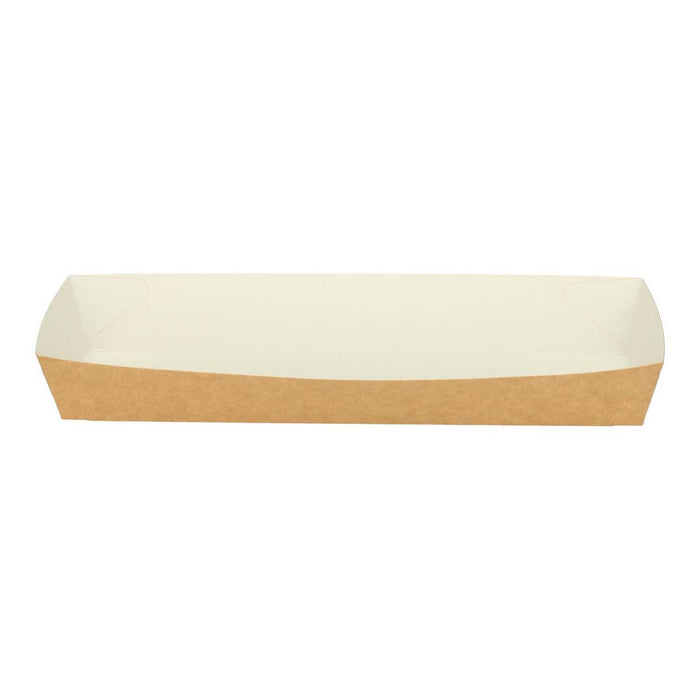 Boîte en carton rectangle conique 22x5,5x3,2 cm marron / blanc
